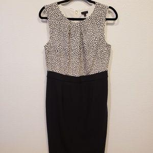 Talbots Dress Black Bottom, Polka top size 8